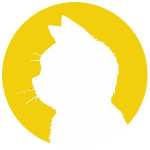 sns用プロフィール画像白猫横顔シルエット単色イエロー首輪なし