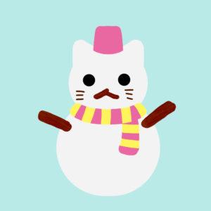 猫の雪だるまピンク