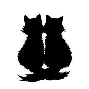 シルエット2匹の猫6長毛しっぽクロスブラック