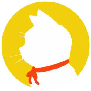 sns用プロフィール画像白猫横顔シルエット単色イエロー