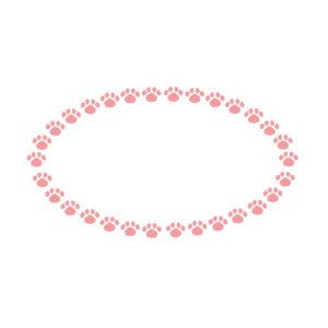 小さな肉球を並べた楕円フレームピンク
