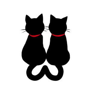 シルエット2匹の猫4しっぽハートB首輪赤