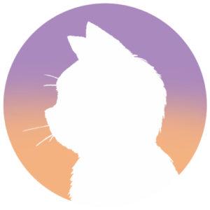 sns用プロフィール画像白猫横顔シルエットグラデーションラベンダーオレンジ首輪なし