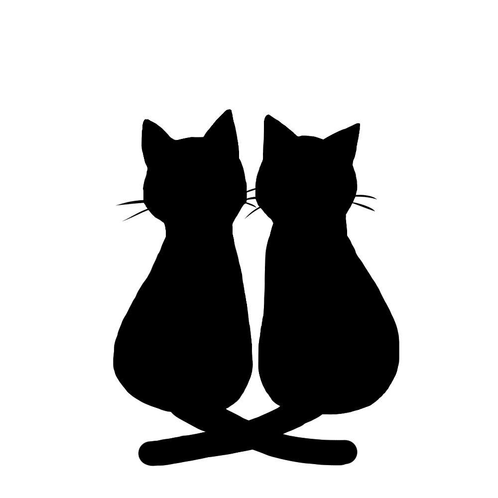 シルエット2匹の猫2しっぽクロスブラック