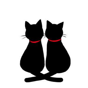 シルエット2匹の猫2しっぽクロス首輪赤