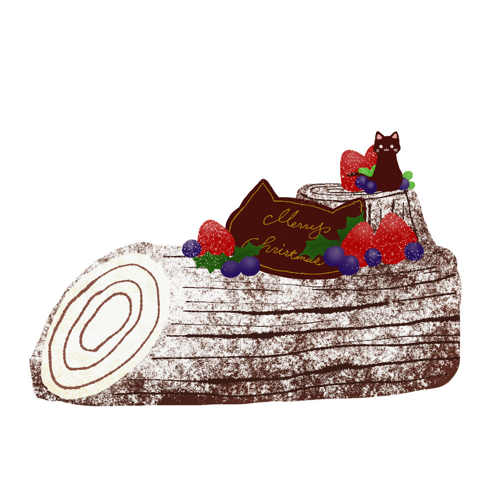 猫のチョコプレートが乗ったブッシュドノエルスノーシュガー×ミルクチョコ