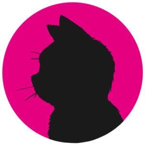 sns用プロフィール画像黒猫横顔シルエット単色ピンク首輪なし