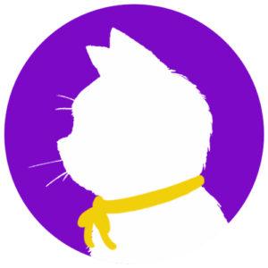 sns用プロフィール画像白猫横顔シルエット単色パープル