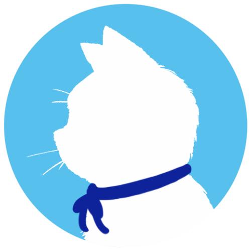 sns用プロフィール画像白猫横顔シルエット単色ブルー
