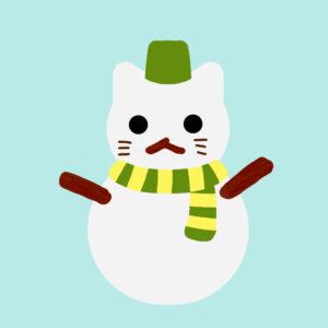 猫の雪だるまグリーン
