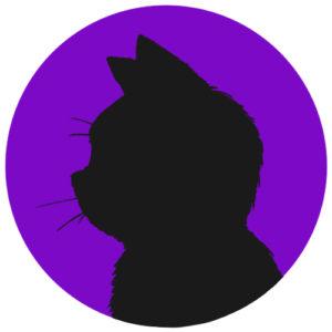 sns用プロフィール画像黒猫横顔シルエット単色パープル首輪なし