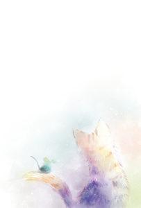 子年年賀状仲良しな猫とねずみの後ろ姿