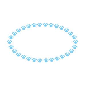 小さな肉球を並べた楕円フレームブルー