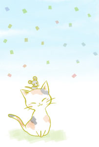 猫イラスト子年年賀状三毛猫とねずみ