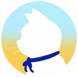 sns用プロフィール画像白猫横顔シルエットグラデーションライトブルーイエロー