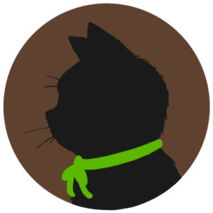 sns用プロフィール画像黒猫横顔シルエット単色ブラウン