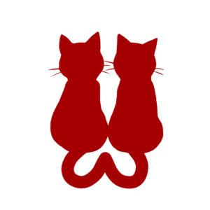 シルエット2匹の猫4しっぽハートBレッド