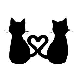 シルエット2匹の猫3しっぽハートAブラック