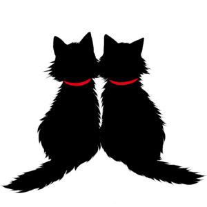 シルエット2匹の猫5長毛首輪赤
