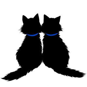 シルエット2匹の猫5長毛首輪青