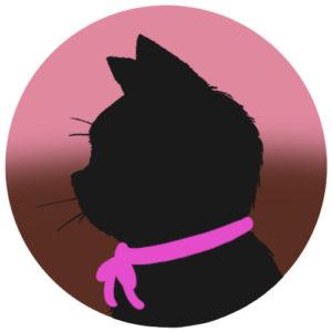 sns用プロフィール画像黒猫横顔シルエットグラデーションピンクブラウン