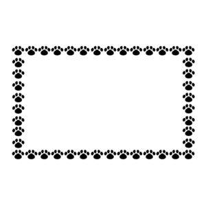 小さな肉球を並べた四角いフレームブラック