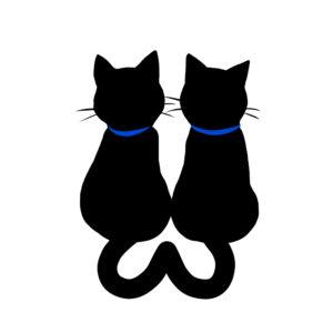 シルエット2匹の猫4しっぽハートB首輪青