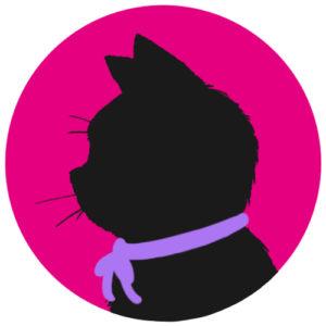 sns用プロフィール画像黒猫横顔シルエット単色ピンク
