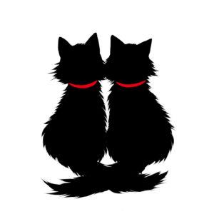 シルエット2匹の猫6長毛しっぽクロス首輪赤