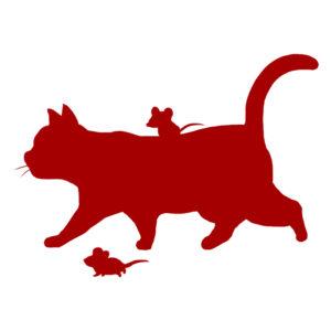 シルエット歩く猫とねずみレッド