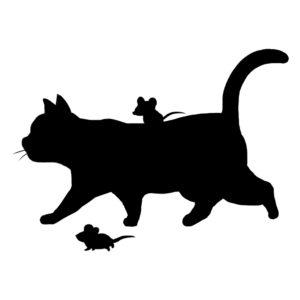 シルエット歩く猫とねずみブラック