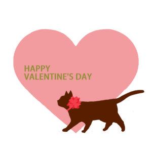 大きなハートと歩く猫のシルエットハートピンク