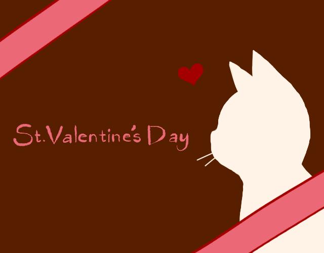 バレンタインデー猫の横顔シルエットカードピンク×ホワイト