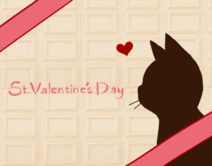 バレンタインデー板チョコレートと猫の横顔シルエットカードホワイトチョコ×ピンク