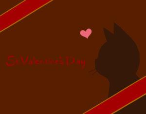 バレンタインデー猫の横顔シルエットカードレッド×ブラウン