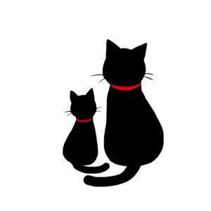 シルエット2匹の猫7首輪赤