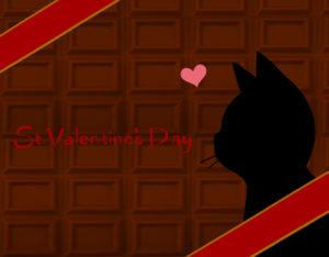 バレンタインデー板チョコレートと猫の横顔シルエットカードミルクチョコ×レッド