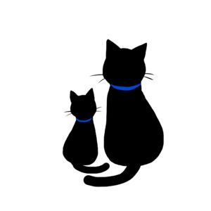 シルエット2匹の猫7首輪青