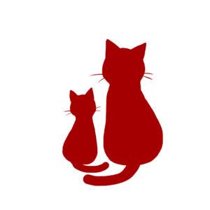 シルエット2匹の猫7レッド