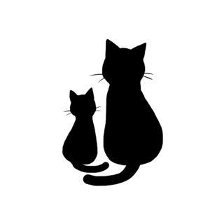 シルエット2匹の猫7ブラック