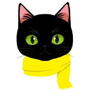 マフラーを巻いた猫ブラック×イエロー正面
