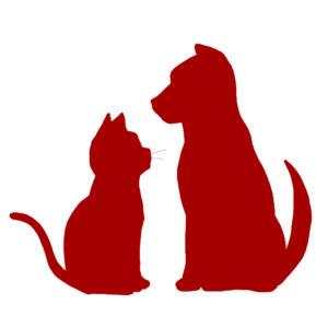 シルエット猫と犬2レッド
