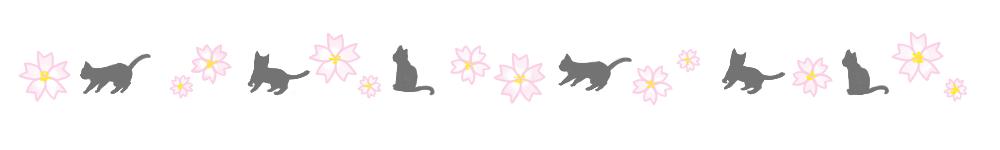 猫と桜のライン素材