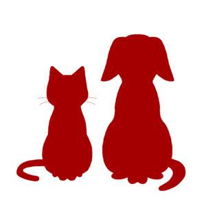 シルエット猫と犬1レッド