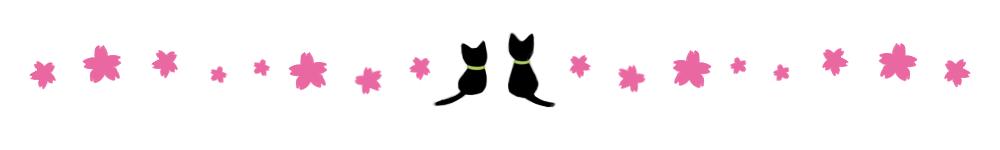 桜と2匹の猫のライン素材