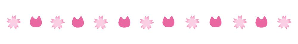 桜と猫の顔のライン素材