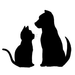 シルエット猫と犬2ブラック