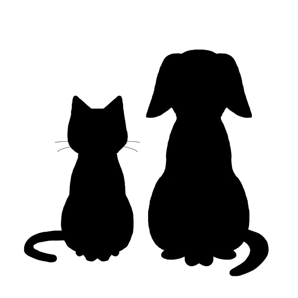 シルエット猫と犬1ブラック