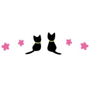 桜と2匹の猫のライン素材300
