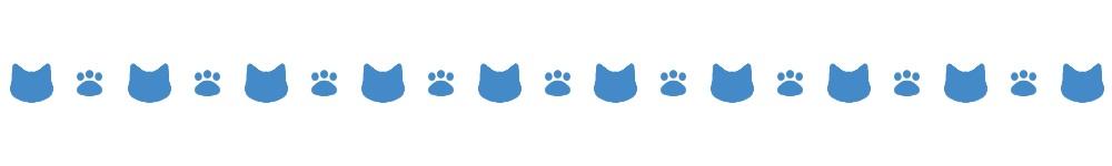 猫の顔と肉球のライン素材ブルー